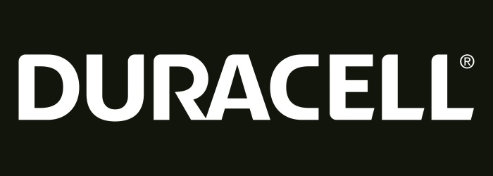 Duracell White Text Black Background